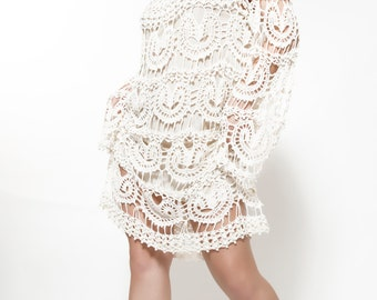Hand made linen crochet dress