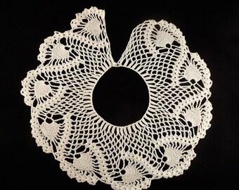 """Vintage Off White Eggshell Collar Doily Lace Crochet Handmade 16"""""""