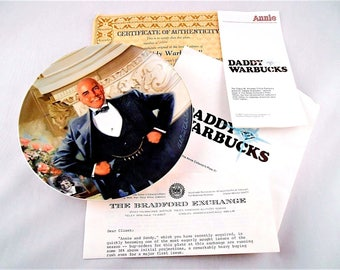 """Daddy Warbucks"""" Knowles Collectors 2nd Issue 1982 Certificate B1926"""