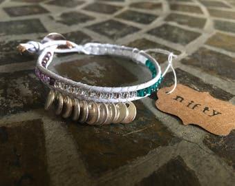 Lavender Leather Beaded Bracelet -You're a Gypsy-
