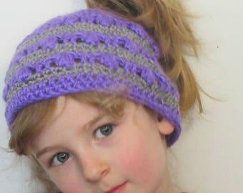Children's messy bun hat