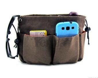Periea Brown Canvas Handbag Organiser - Small Size | OLIVIA