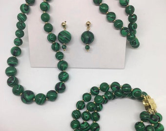 Malachite Bead Necklace, Bracelet and  Earrings Set