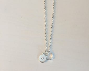 Monogram Necklace with Heart Charm