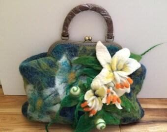 Hand felted merino wool HANDBAG with flowers decor 100% wool blue/green/ multicolor NEW