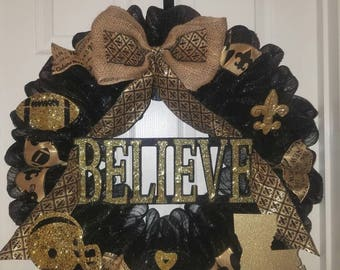 New Orleans Saints, New Orleans Saints wreath, Saints wreath, Louisiana wreath, Black and gold wreath, Saints football wreath,Who dat wreath