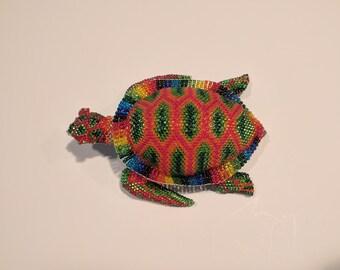 Beaded Sea Turtle Animal - Rainbow, Tie-Dye Colors