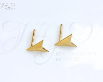 Earrings 925 sterling silver gold plated * arrow * arrowhead * arrow * arrowhead * stud earrings