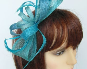Victoria medium fascinator in aqua and kingfisher