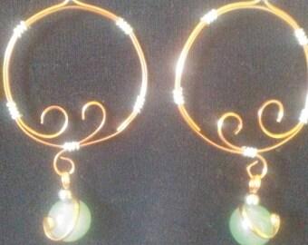 Earrings, jewelry, Hand made copper,jewelry, adventurine, earrings, gift