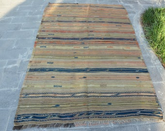 Antique Turkish Kilim Free Shipping Turkish Kilim Rug 4.2' x 7.1'  Stripe Kilim Embroidered Kilim Boho Kilim Blue Kilim Pale Color Code 428