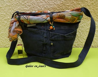 "Original bag recycled denim and graphic scarf orange ""Via 28"""