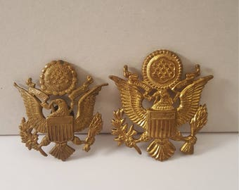 2 Vintage (c. 1940's) US Army Officer Hat Eagle Insignia