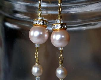 Light Pink Pearl and Gold Dangles