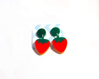 Bright Strawberry Earrings, laser cut acrylic