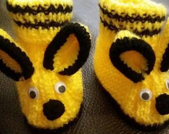 Chausson baby Yellow Rabbit yarn