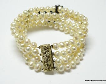"""New w/Tags Signed """"925 H"""" HONORA Sterling Silver and Faux Pearl 4 Strand Bracelet"""