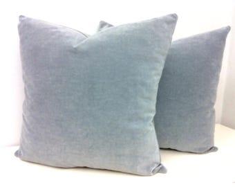 Set of Two Grey Cotton Velvet Pillow Cover, Gray Pillow, Velvet Pillow, Decorative Pillow, Velvet Cushion, Gray Velvet Pillow Case Covers