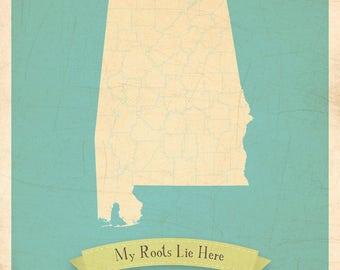 Map Nursery Art, Map Poster, Map Wall Decor, Map Artwork, 11x14, Customized Print, Alabama Roots Map