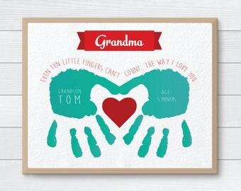Personalized Gift for Grandmother, CUSTOM Handprint Art, Mother's Day, Hand Print, Gift from Kids, Grandmother Birthday Gift, Children Gift