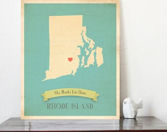 Personalized Vintage Map Wall Art, Customizable Print RhodeIsland, Gender Neutral Decor, Nursery Wall Art, Customized State Map