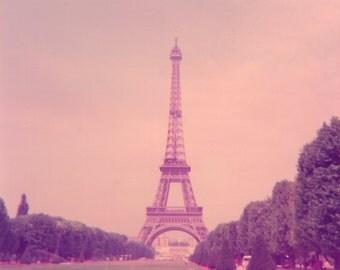 Pink Eiffel Vintage Photo Print