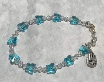 Blue Butterfly Swarovski Crystal Bracelet