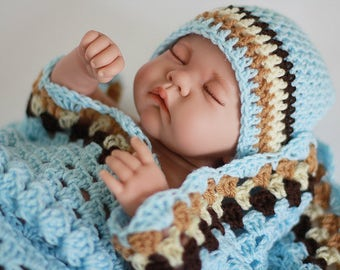 Crochet Baby Blanket / Afghan and Hat Granny Square Blue Brown and Cream / Ecru / Ivory Baby Shower Gift Baby BoyBaby Girl