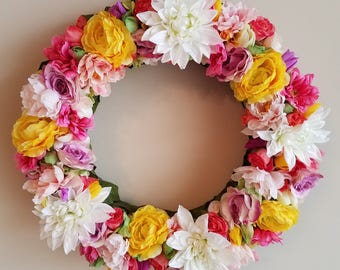 Spring Flower Wreath, 18 inch, Floral Wreath,  Floral Decor,  Spring Floral Wreath,  Bright Floral Decor,  Bright Wreath