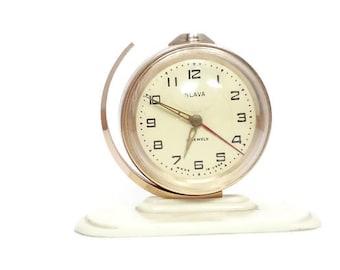 Vintage 1960s Alarm clock SLAVA,  Retro Alarm Clock, Soviet Alarm Clock, Soviet Space Program, Russian Clock, Mechanical Clock, 11 jewels