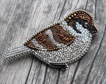 Hand made bird pin sparrow