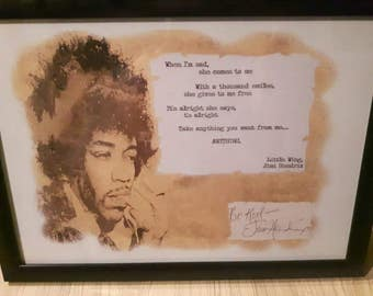 Jimi Hendrix Limited Edition Signed Art Print. Numbered Certificate only 100 made. Framed