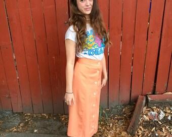 Vintage New Orleans orange maxi skirt- size S