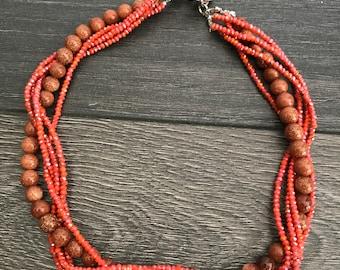 Convertible orange-brown faceted stones necklace/bracelet