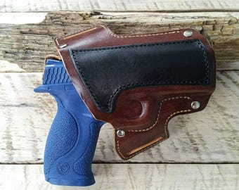 Custom built OWB leather holster for Smith and Wesson M&P 40/9 full size