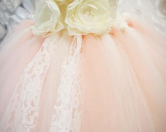 Peach Flower Girl Tutu Dress-Peach Tutu Dress-Peach Girl Tutu-Peach Birthday Tutu-Peach Wedding Tutu-Peach Birthday Tutu.
