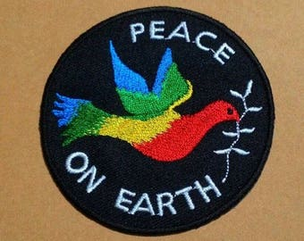 Circle of colorful bird peace on earth Iron on Patch.