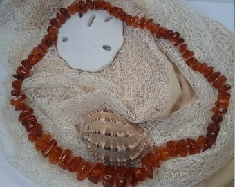 rough cut graduated amber necklace