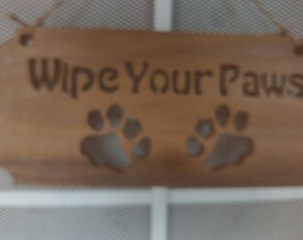 """Hand Made Scroll Saw Art Work """"Wipe Your Paws"""""""