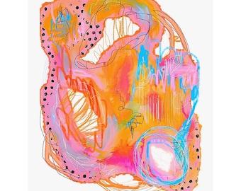 Abstract Painting GICLÉE Art Print 8x10, 10x12, 11x14 - Parfait - Pink, Orange, Peach, Blue, White, Black, Green, Wall Art, Mixed Media Art