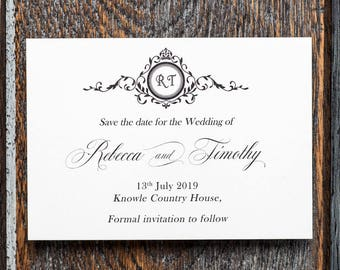Wedding Announcement, wedding monogram, save the date, monogram, save the dates, save the date cards, custom save the date, black and white
