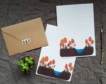 Stationery (set of 4) + envelopes kraft - exotic Village at the edge of the water.