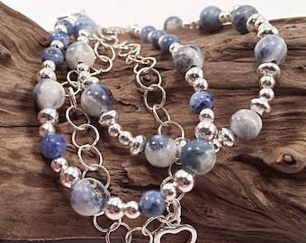 Sterling silver gemstone bracelet, silver bracelet, sodalite bracelet, blue bracelet, nautical bracelet, sailing bracelet, sail boat charm