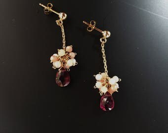 Sweet sakura-gemstone wire wrapped earrings with faceted pink opal and rose red garnet drops;14k gold filled