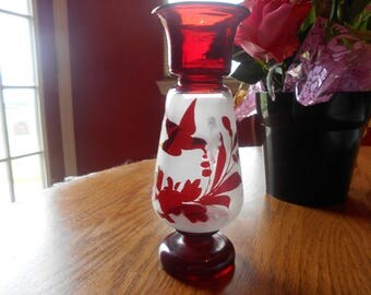 ruby red frosted vase