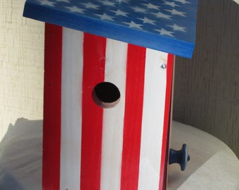 Handmade Upcycled Wooden Red White & Blue Birdhouse American Made