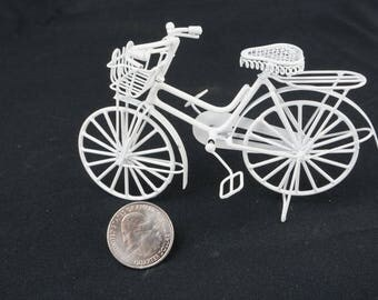 Bicycle, White: Handley House, garden supplies, fairy garden, dollhouse, miniature, Aztec