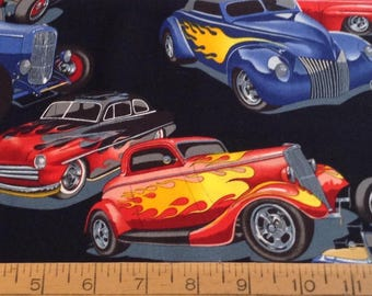 Hot rod cars/roadsters cotton fabric by the yard