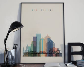 New Orleans Art New Orleans Wall Art Watercolor New Orleans Skyline New Orleans Print New Orleans Poster New Orleans Photo Louisiana