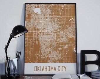 Oklahoma City Map Oklahoma Map Oklahoma City Poster Oklahoma City Photo Oklahoma City Print Home Decor Street Map Wall Art Map Poster Map